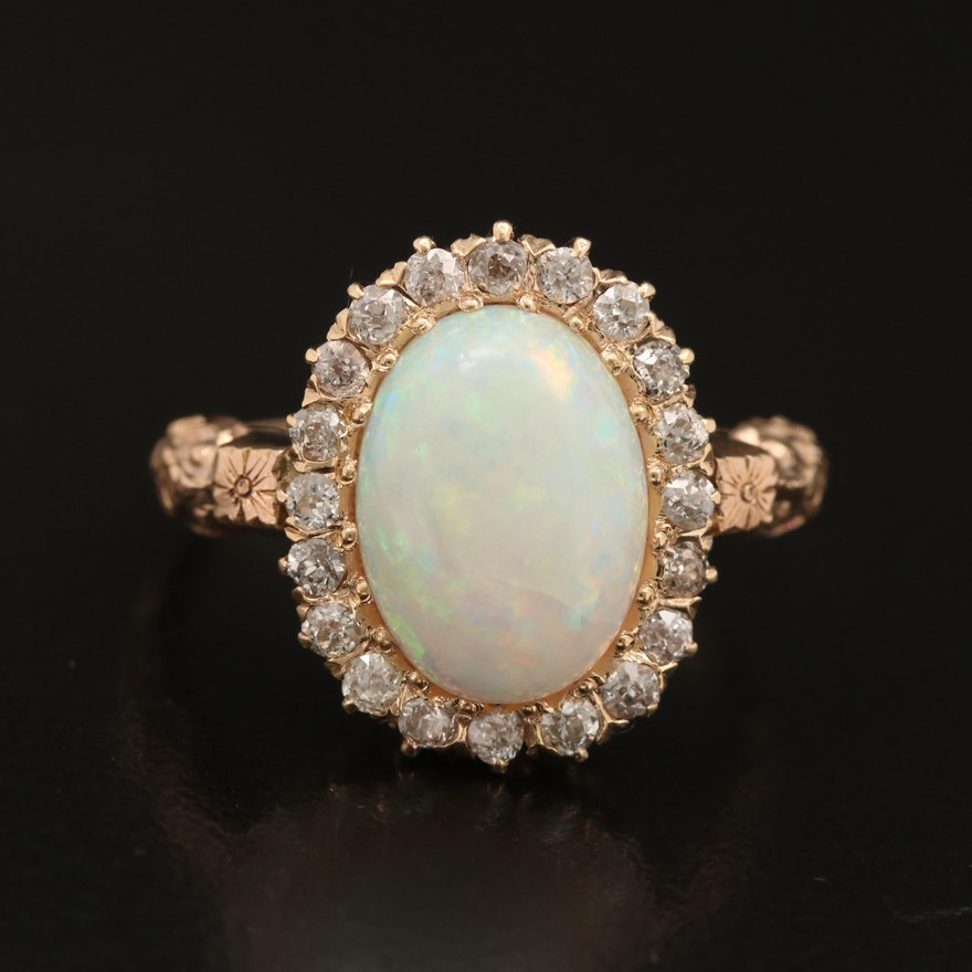 Vintage 14K and 10K Opal and Diamond Ring