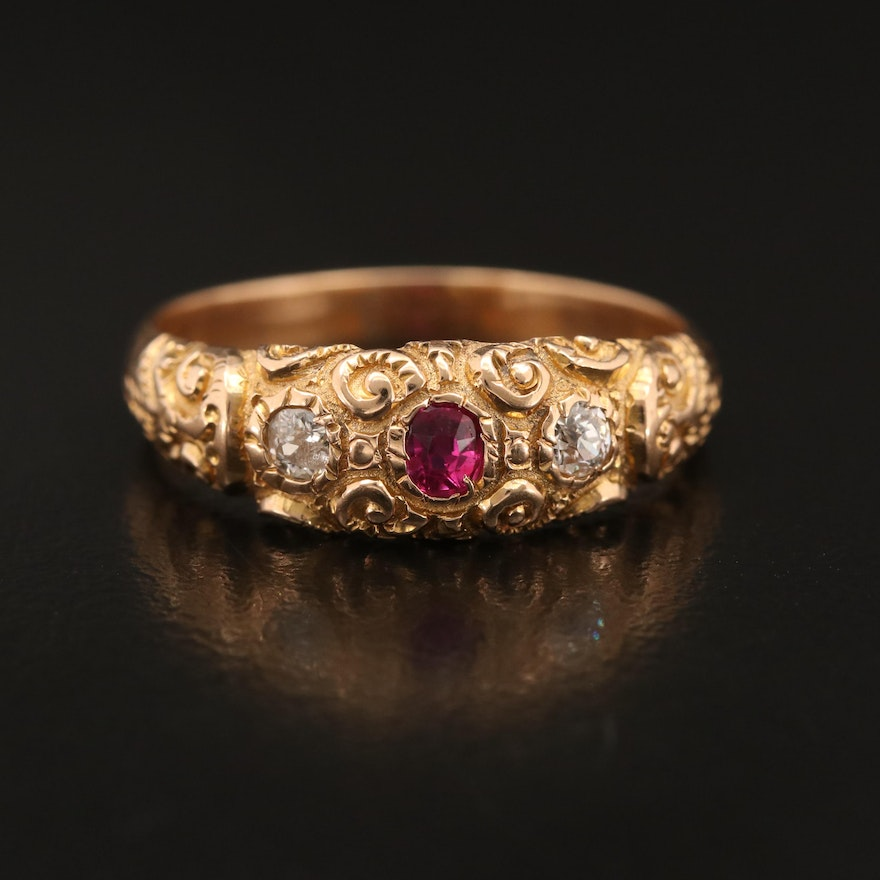 Vintage 14K Ruby and Diamond Scroll Pattern Ring