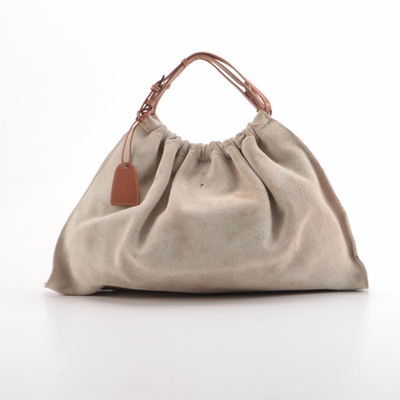 Gucci Suede and Leather Top Handle Hobo Bag