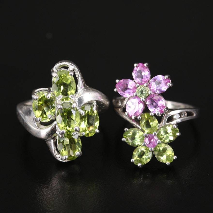 Sterling Peridot and Sapphire Cluster and Floral Rings