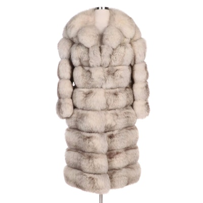Sectioned Blue Fox Fur Coat with Wide Notched Collar