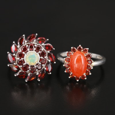 Sterling Jadeite, Opal and Garnet Rings