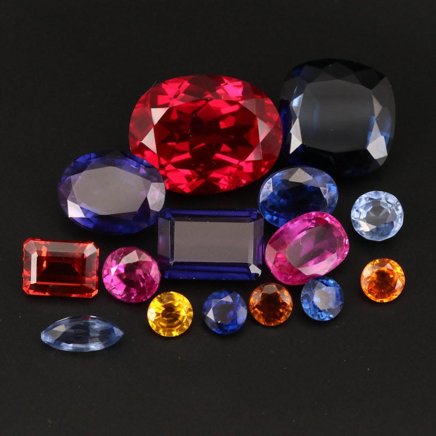 Loose Laboratory Grown Mixed Faceted Sapphire and Ruby