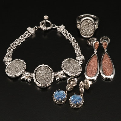 Sterling Druzy Bracelet, Ring and Quartz Druzy Doublet Earrings