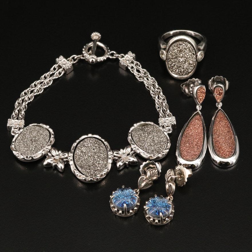 Sterling Druzy Bracelet, Ring and Quartz Druzy Doublet Earrings