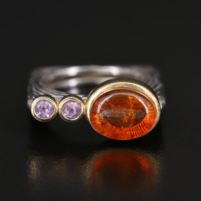 Sterling Silver Amber and Amethyst Ring
