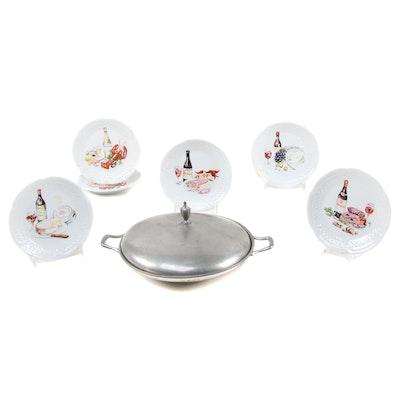 Philippe Deshoulières Porcelain Plates and Other Pewter Serveware