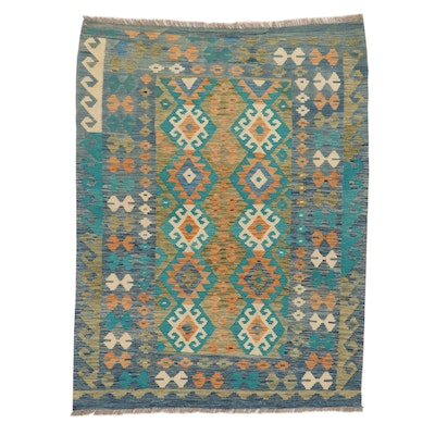 5'0 x 6'7 Handwoven Turkish Village Kilim Wool Area Rug, 2010's