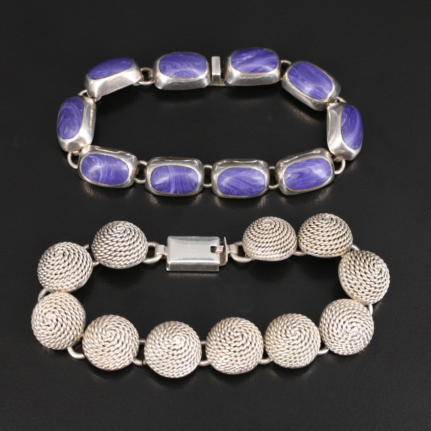 Sterling Rope Coil Bracelet and 950 Silver Faux Sugilite Bracelet