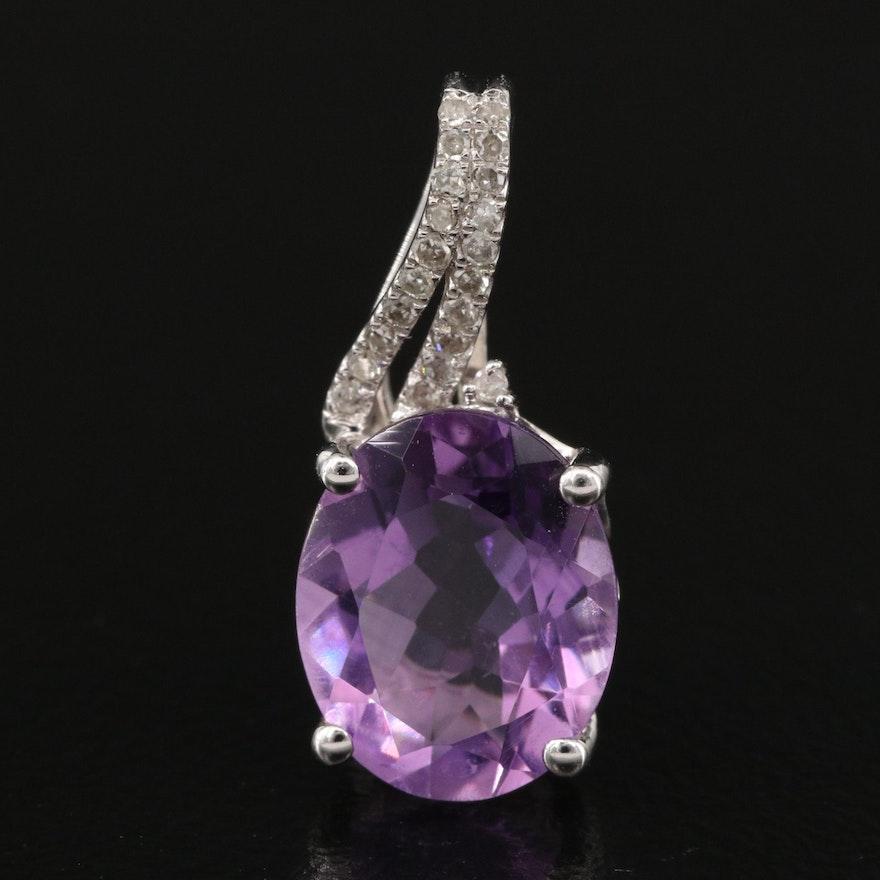 10K Amethyst and Diamond Pendant