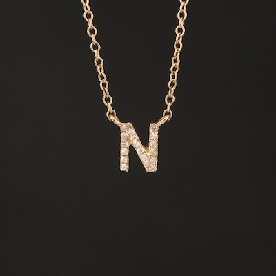 "14K Diamond ""N"" Necklace"