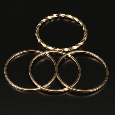 Sterling Silver Textured Stackable Bangles