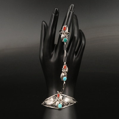 Southwestern Sterling Turquoise and Coral Appliqué Harem Cuff and Ring
