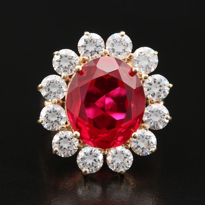 14K Ruby and Cubic Zirconia Halo Ring