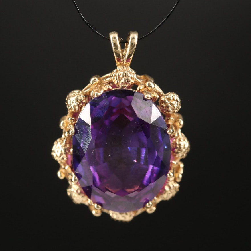 14K Color-Change Sapphire Pendant with Foliate Frame