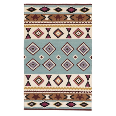 5'1 x 8'0 Indo-Turkish Kilim Wool Area Rug, 2010's