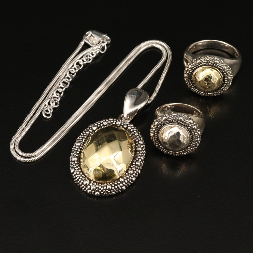"""Michael Dawkins """"Starry Night"""" Sterling Rings and Enhancer Pendant Necklace"""