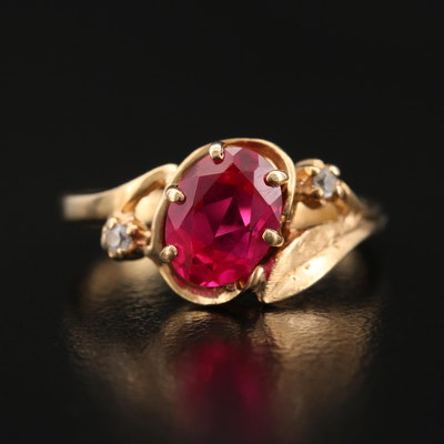 10K Ruby and Spinel Foliate Ring
