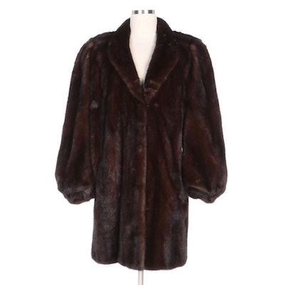 Donald Brooks Mahogany Mink Fur Coat for Sakowitz Furs