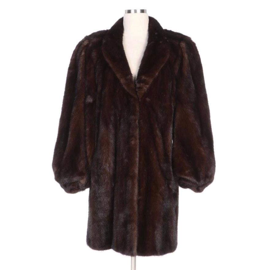 Donald Brooks Mahogany Mink Fur Coat for Sakowitz Furs