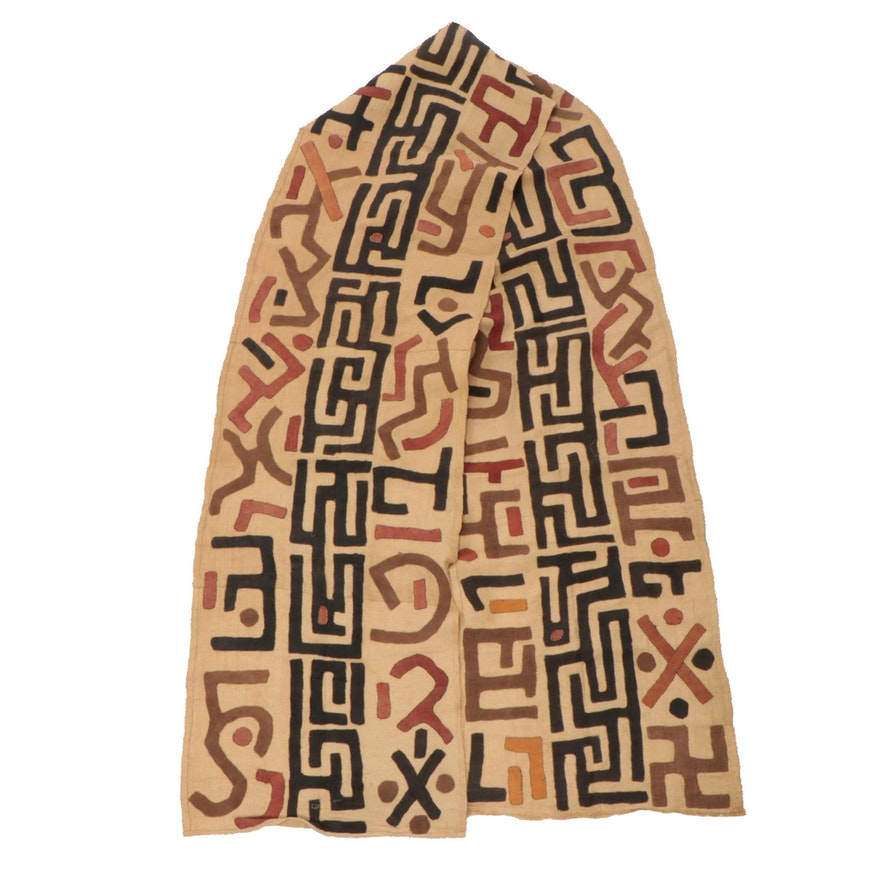 Handmade African Kuba Cloth Raffia Textile Wrapper