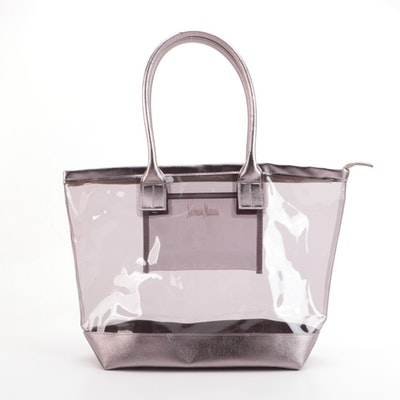 Neiman Marcus PVC and Metallic Faux Leather Zip Tote