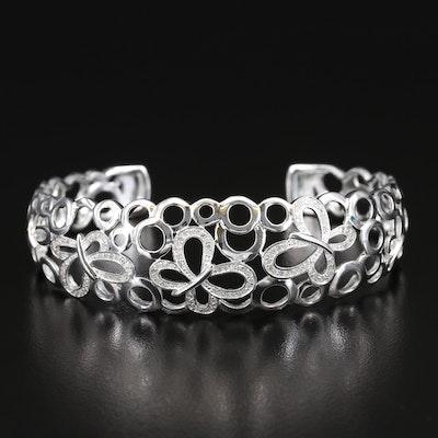 Fine Silver Diamond Butterfly Cuff