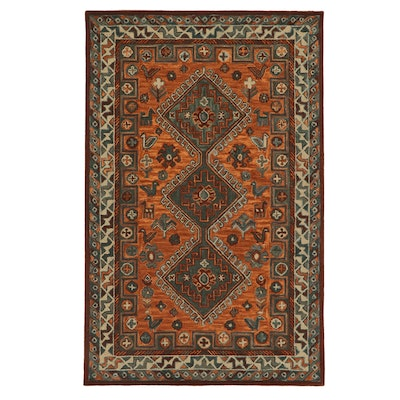 5' x 7' Hand Tufted Indo-Persian Shiraz Pictorial Rug, 2010s