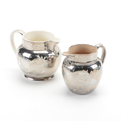 English Ceramic Resist Glazed Silver Luster Milk Jugs, Early to Mid 19th Century