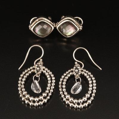Michael Dawkins Quartz Over Mother of Pearl Earrings and Quartz Earrings