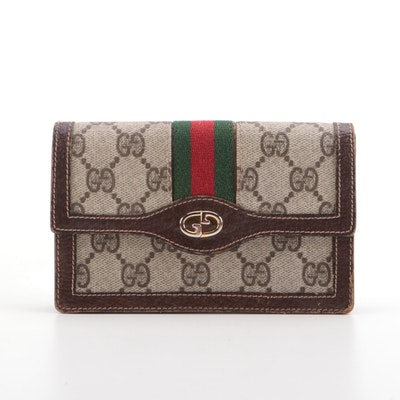 Gucci Parfums Web Stripe Wallet in GG Supreme Canvas and Leather