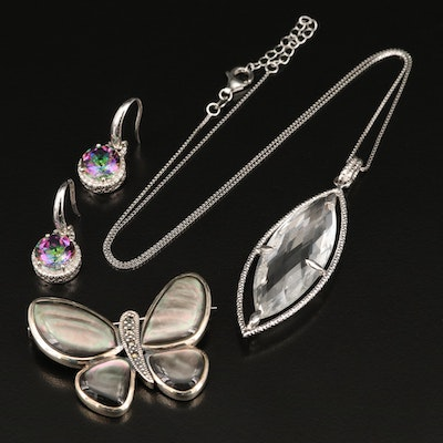 Sterling Silver Gemstone Necklace, Earrings and Brooch