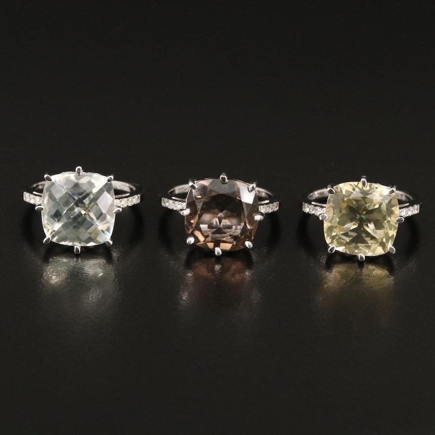 Sterling Silver Citrine, Diamond and Gemstone Rings