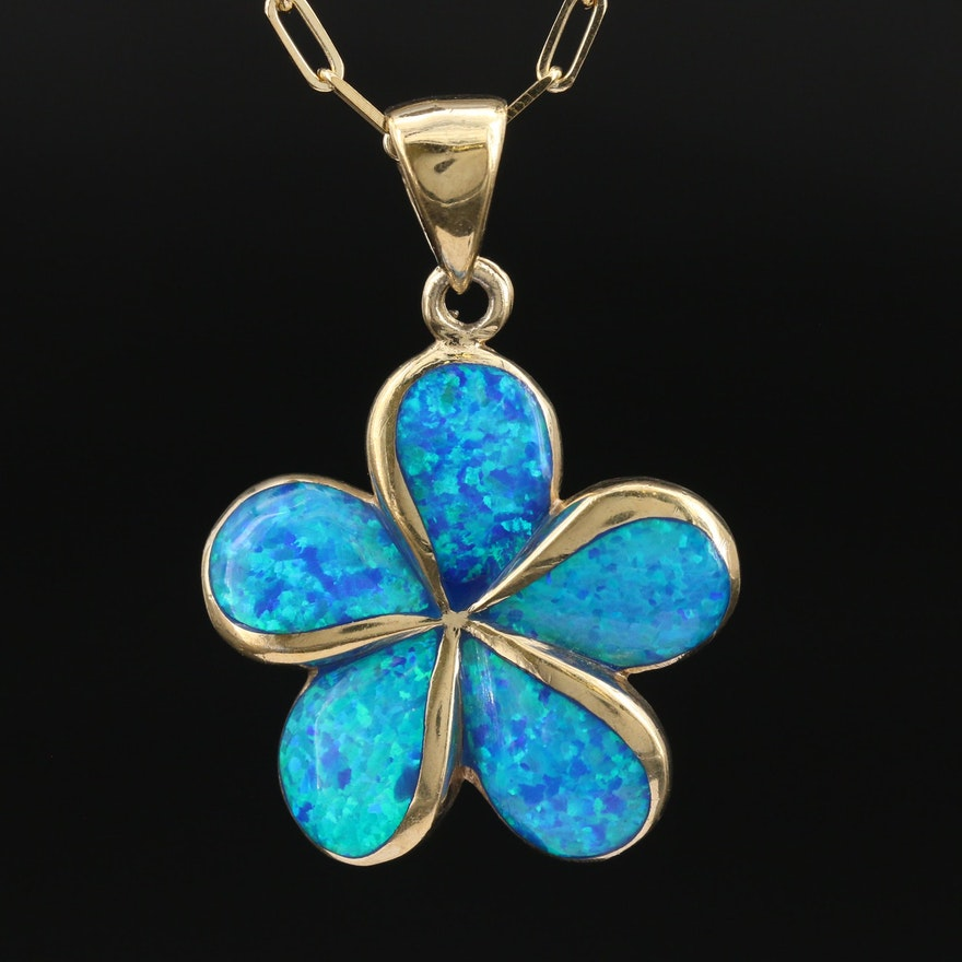 Sterling Opal Flower Necklace