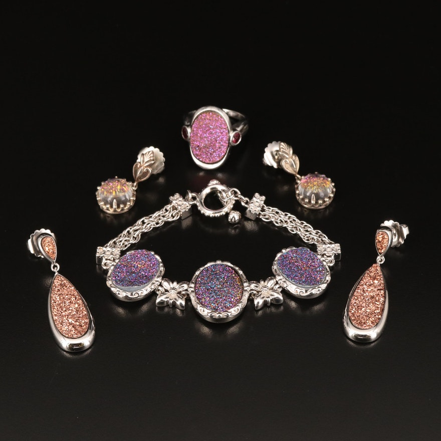 Sterling Bracelet, Ring and Earrings with Druzy, Quartz Doublet and Garnet
