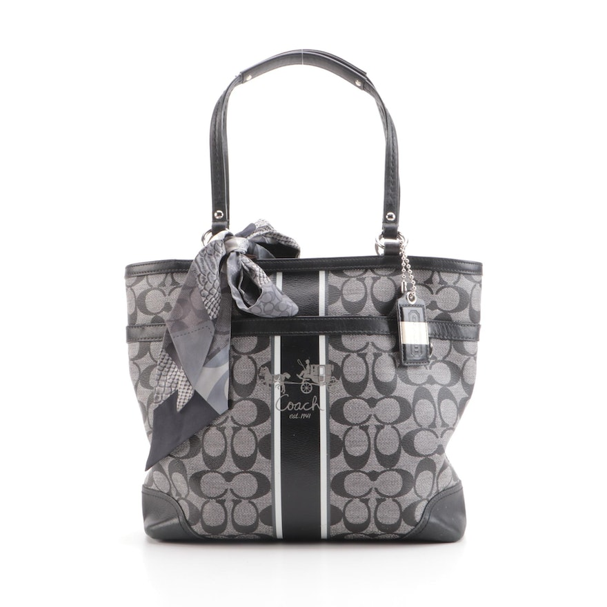 Coach Heritage Stripe Tote in Signature Coated Canvas with Black Leather Trim