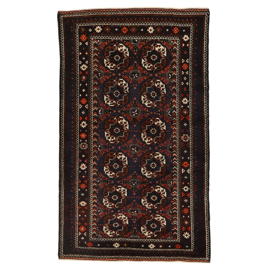 4'2 x 7'0 Hand-Knotted Persian Turkoman Wool Area Rug, 2000's