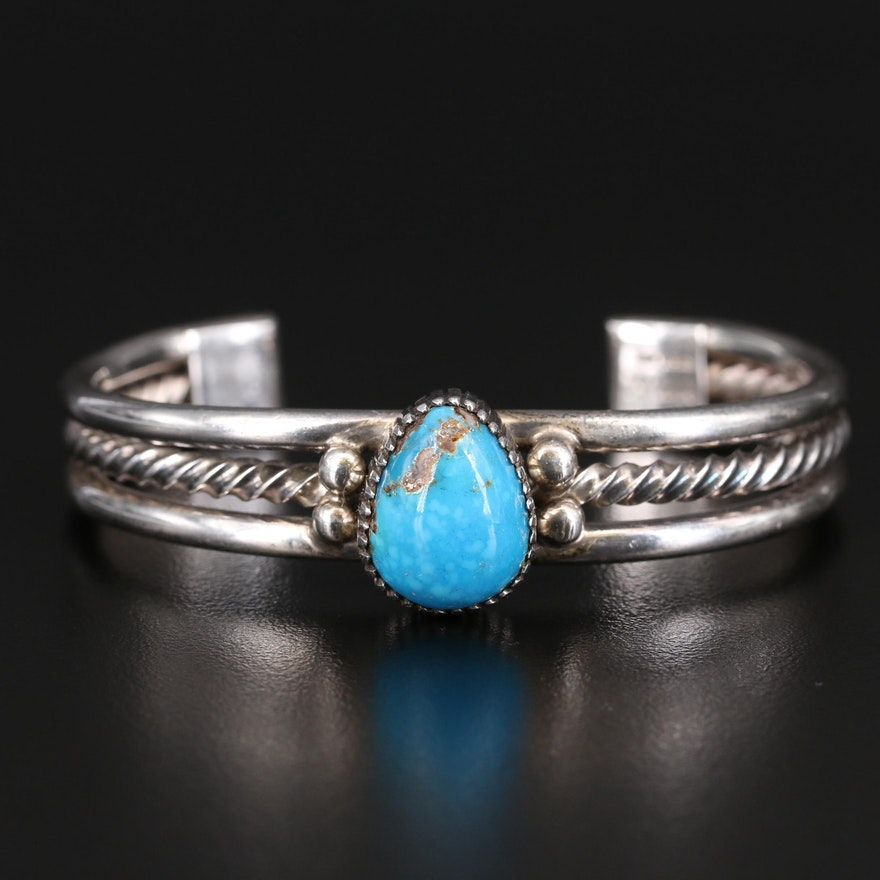 Western Style Signed Sterling Turquoise Cuff