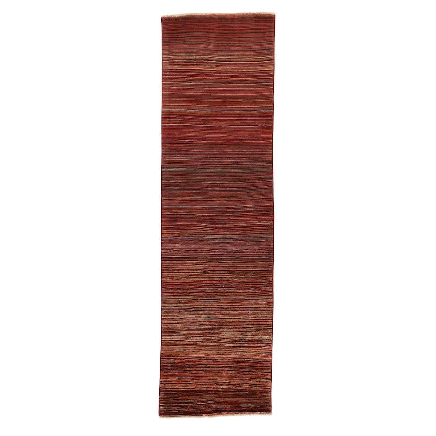 3'0 x 10'0 Hand-Knotted Pakistani Persian Gabbeh Wool Carpet Runner, 2010's
