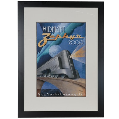 "Large-Scale Offset Lithograph after M. Kungl ""Midnight Zephyr"""