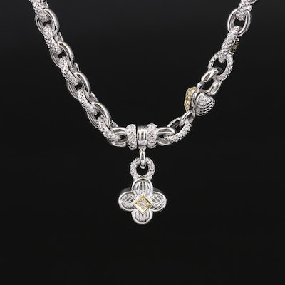 Judith Ripka Sterling Textured Cable Link Necklace with Diamond and 18K Accents