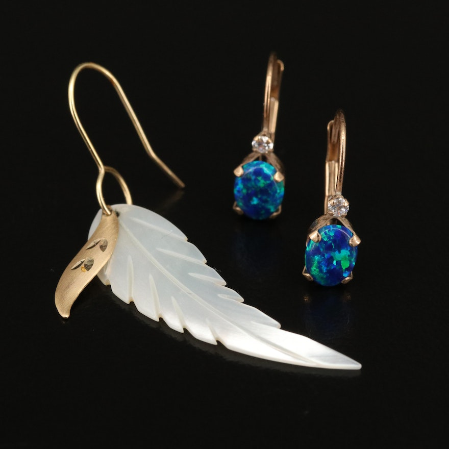 10K Opal and Cubic Zirconia Earrings and Single Feather Earring