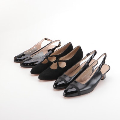 Salvatore Ferragamo Slingbacks and Low-Heeled Dress Shoes in Black