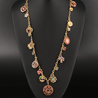 """Joan Rivers """"Victorian Language of Flowers"""" Enamel and Faux Pearl Necklace"""