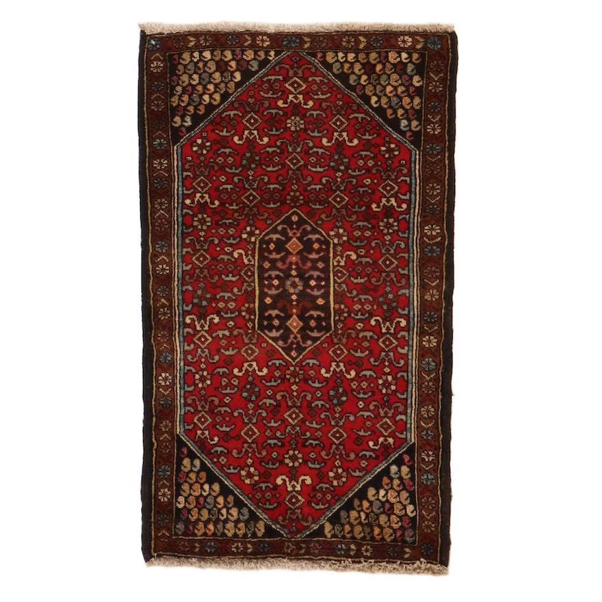 2'1 x 3'3 Hand-Knotted Persian Bijar Rug, 1960s
