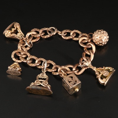 Antique Charm Bracelet with Fobs and 14K Clasp