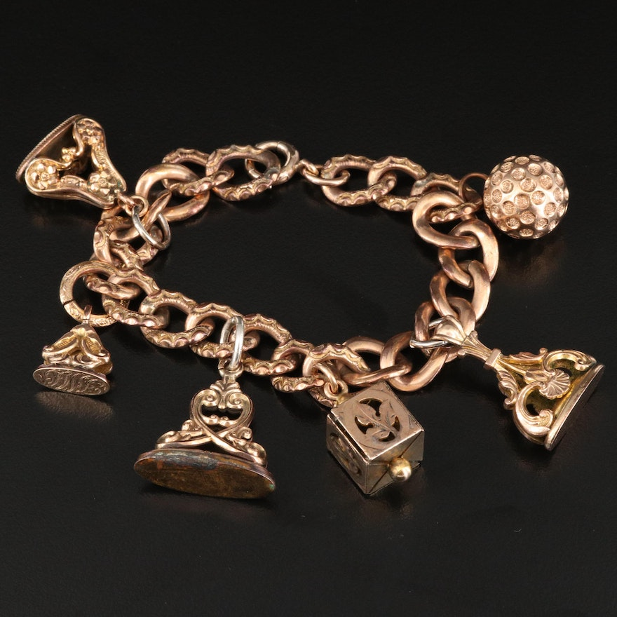 Antique Charm Bracelet with Fobs and a 14K Clasp