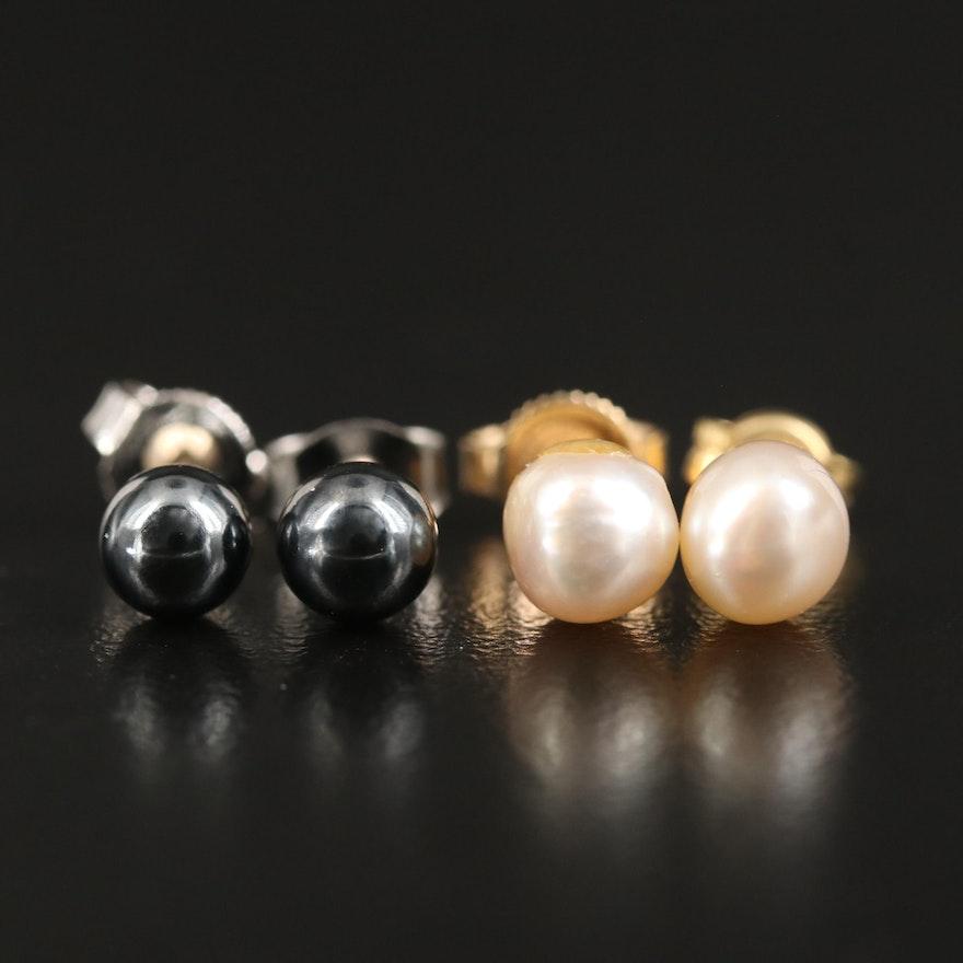 14K Pearl Stud Earrings with Hematite Stud Earrings