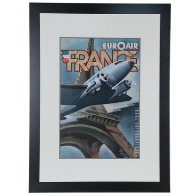 "Large-Scale Offset Lithograph after M. Kungl ""Euroair,"" Late 20th Century"