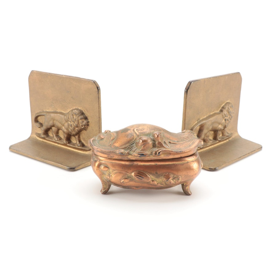Art Nouveau Gilt Metal Jewelry Casket and Lion Bookends, Early-Mid 20th Century